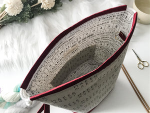 Grab n Go:  Maker's Gonna Make Drawstring Project bag with Wrist Strap and Stitch Marker Ring - The Handmaker's Bag