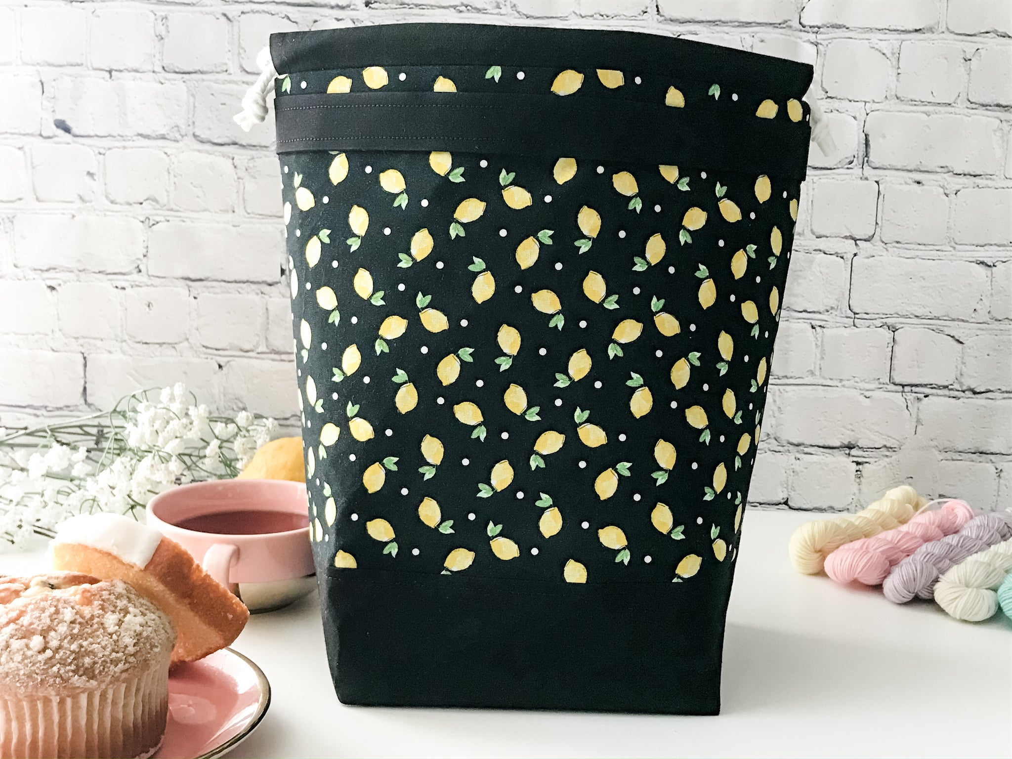 Grab n' Go:  When Life Gives You Lemons Drawstring Project Bag - The Handmaker's Bag