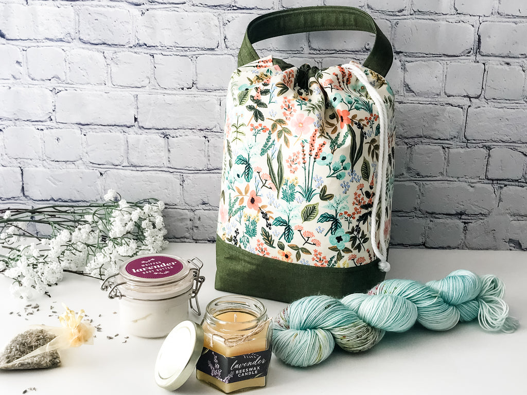 Claire's Apothecary Grab n' Go Care Kit:  Project Bag, Merino Wool, Body Butter & Beeswax Candle - The Handmaker's Bag