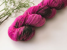 Load image into Gallery viewer, Berry Crush on Larch Sock Weight Donegal Tweed Sock Yarn 100g - The Handmaker's Bag