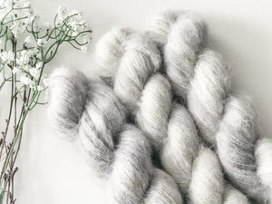 Silver Lining on Cottonwood 50g Suri Alpaca and Silk Blend Lace Weight Yarn - The Handmaker's Bag