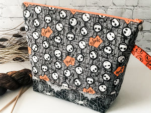 Adventure Bag:  Skellington Skulls Large Zippered Project Bag - The Handmaker's Bag
