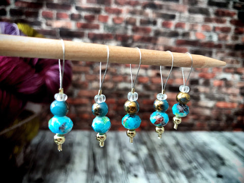 Turquoise and Gold - Stitch Marker Set
