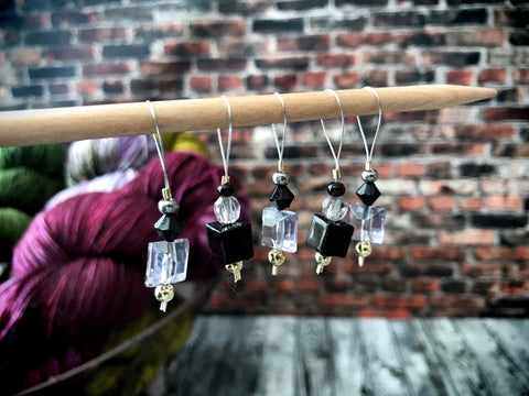 Black Crystal - Stitch Marker Set