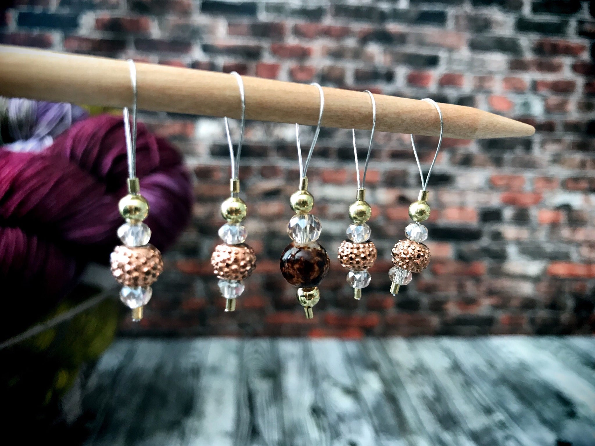 Crystal Gold - Stitch Marker Set - The Handmaker's Bag