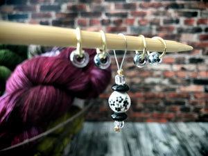 Black Porcelain - Snag Free Stitch Marker Set - The Handmaker's Bag
