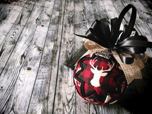 Ornament:  Red and Black Buffalo Check Stag