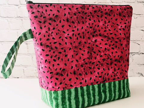 Adventure Bag:  Large Zippered Project Bag - Watermelon
