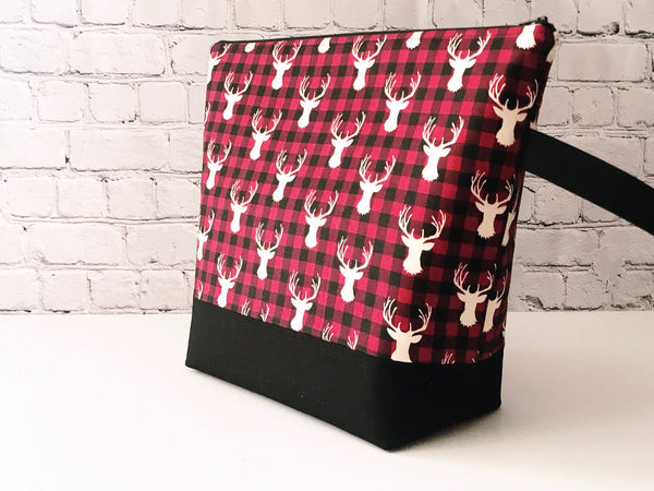 Adventure Bag:  Large Zippered Project Bag - Red and Black Buffalo Check Stag