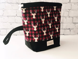 Grab & Go Bag:  Drawstring Project Bag - Red and Black Buffalo Check Stag
