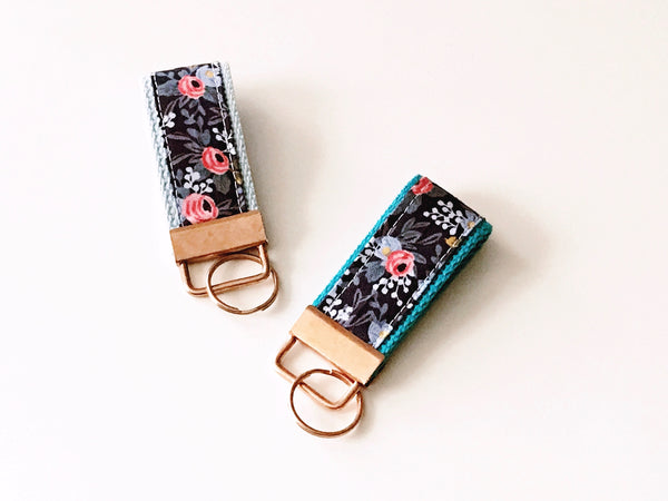 Key Fob:  Rifle Paper Co. Navy Floral