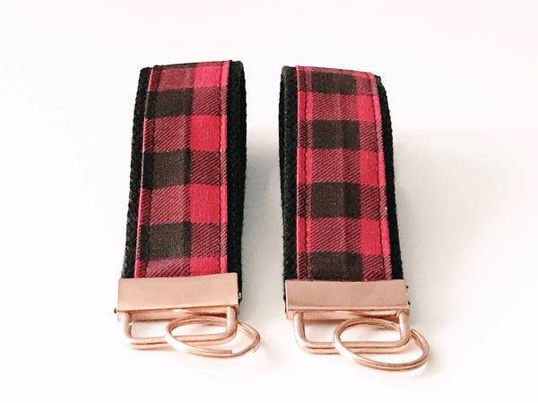 Key Fob:  Red and Black Buffalo Check