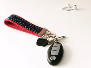 Key Fob:  Navy Stars on Red