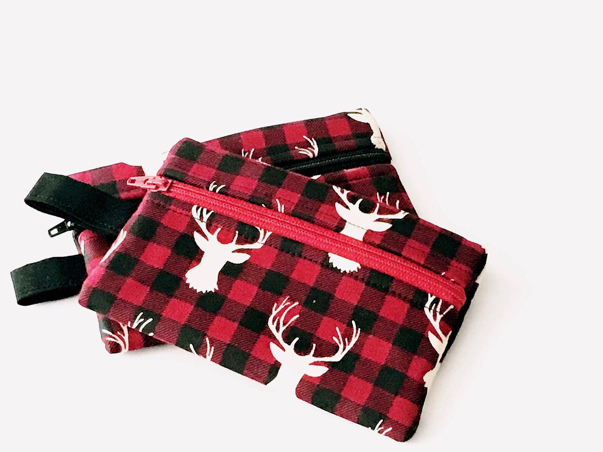 Zippered Pouch:  Red and Black Buffalo Check with Stag