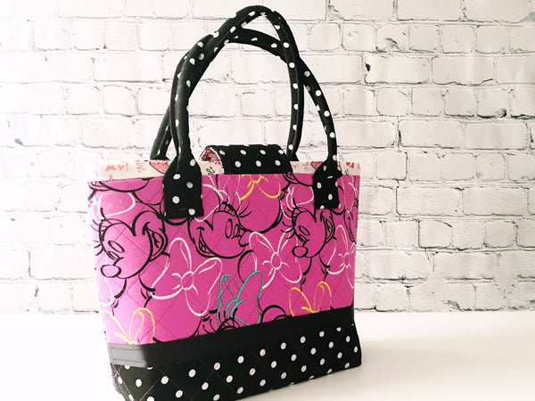 Transit Tote:  The Future Is Pink With Polka Dots Minnie Medium Tote Bag