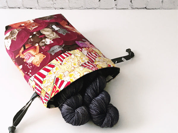 Grab & Go Bag:  A Puurfect Movie Night Drawstring Project Bag