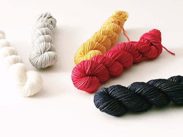 Mini Skein Set:  Vintage Valentine - Hand Dyed 100% Merino Wool Yarn