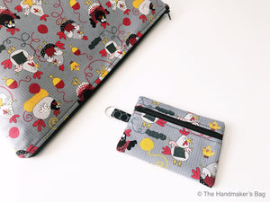 Zippered Notions Pouch:  Knit Chicks