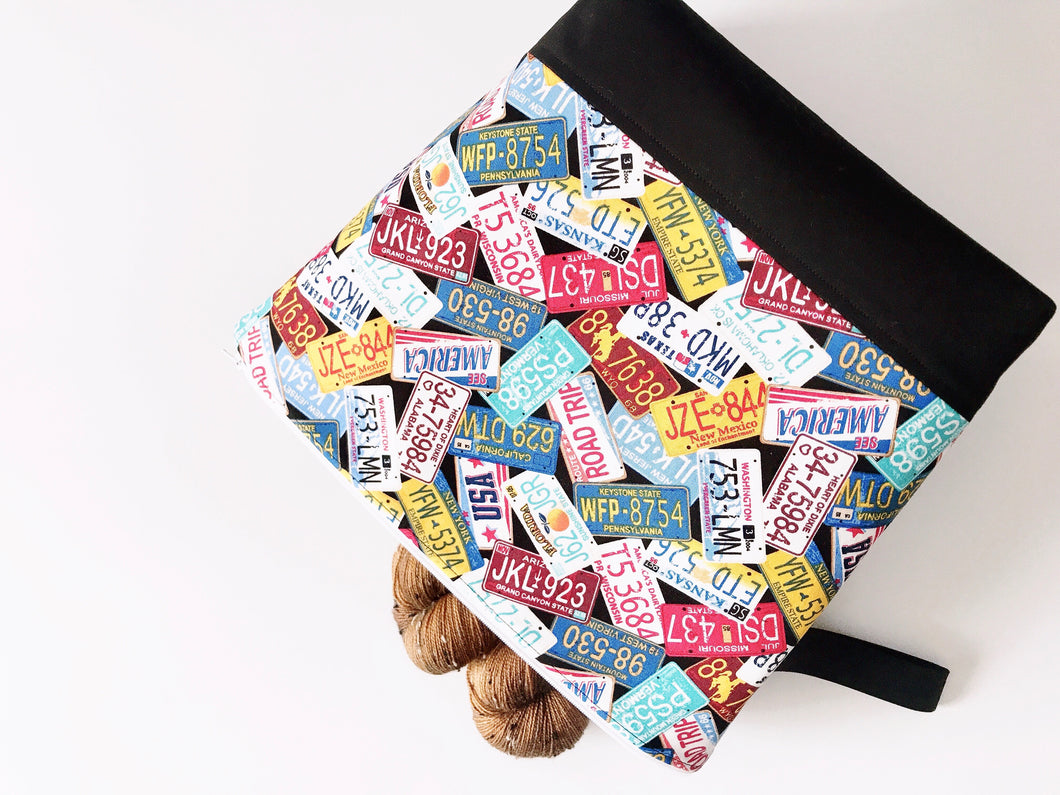 Great Summer Road Trip License Plate Edition Adventure Zippered Project Bag - The Handmaker's Bag
