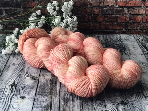 Rose Quartz on Simple Sock - Hand Dyed Wool Yarn