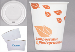 12 oz. Compostable Paper Hot Cup / Lid/Sleeve