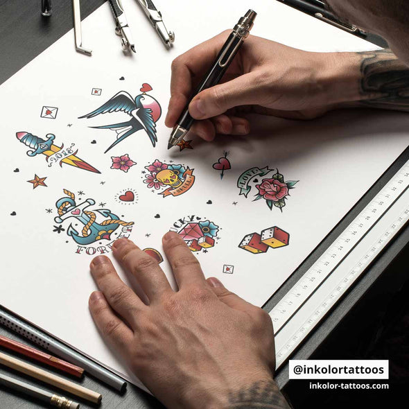 Planche hipster couleur - Pack de 3 tattoos