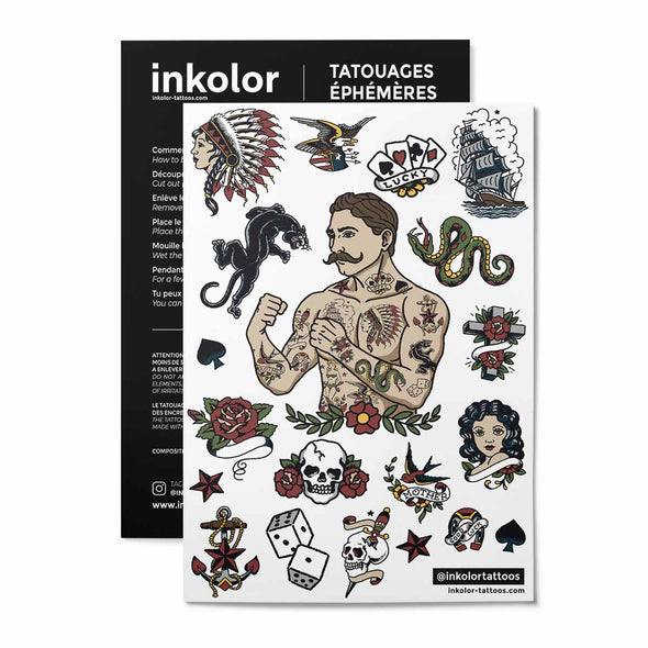 Hipster couleur - Pack de 2 tattoos