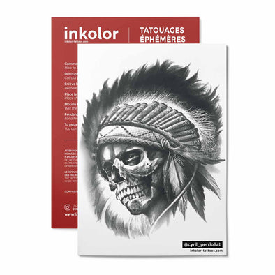 Crâne indien @cyril_perriollat - Pack de 3 tattoos