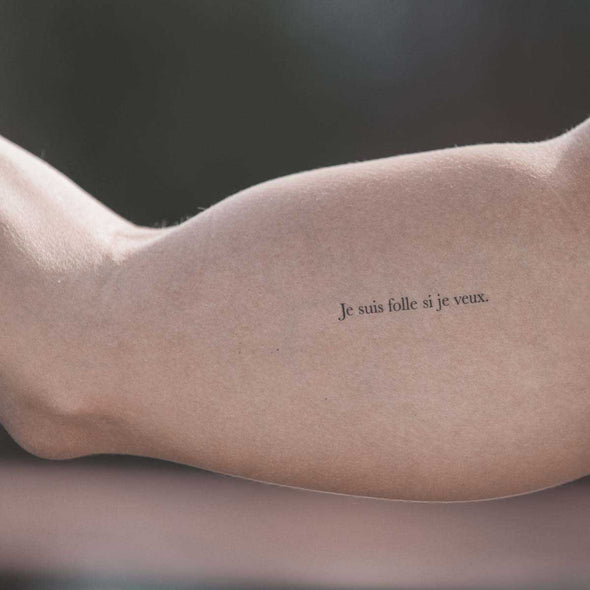 """Je suis folle si je veux."" @lescartonsofficiel - Pack de 2 tattoos"