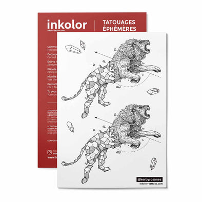 Lion géométrique @kerbyrosanes - Pack de 3 tattoos