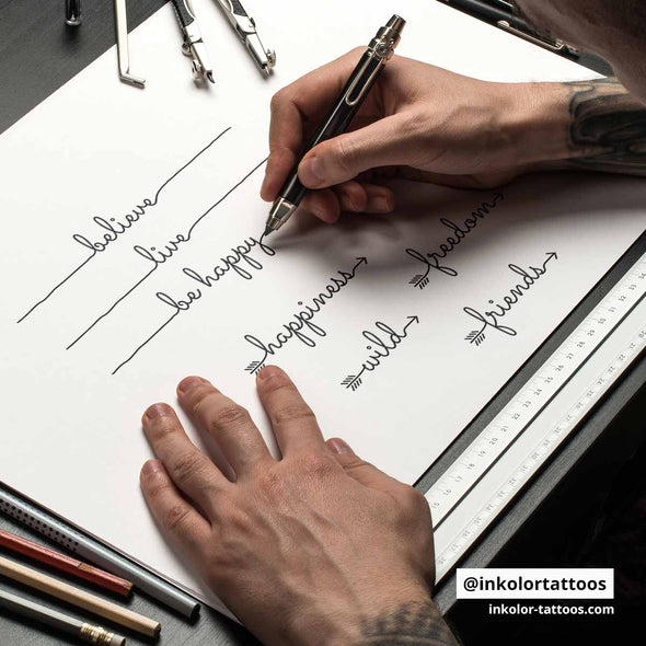 English words lines - Pack de 2 tattoos