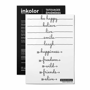 English words lines - Pack de 3 tattoos