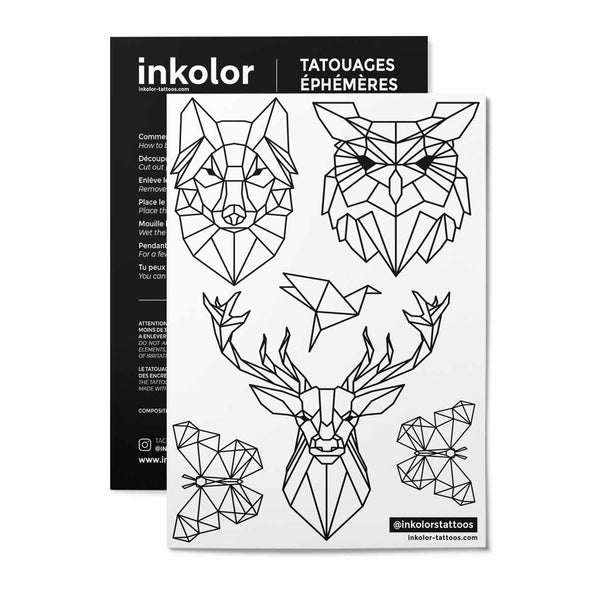 Animaux origami - Pack de 3 tattoos