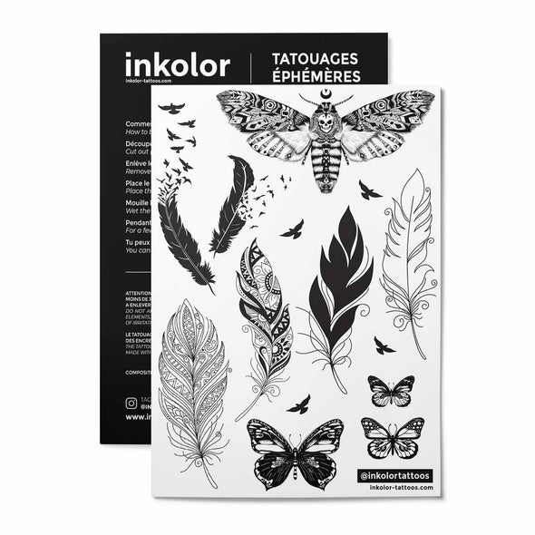 Plumes & papillons - Pack de 3 tattoos