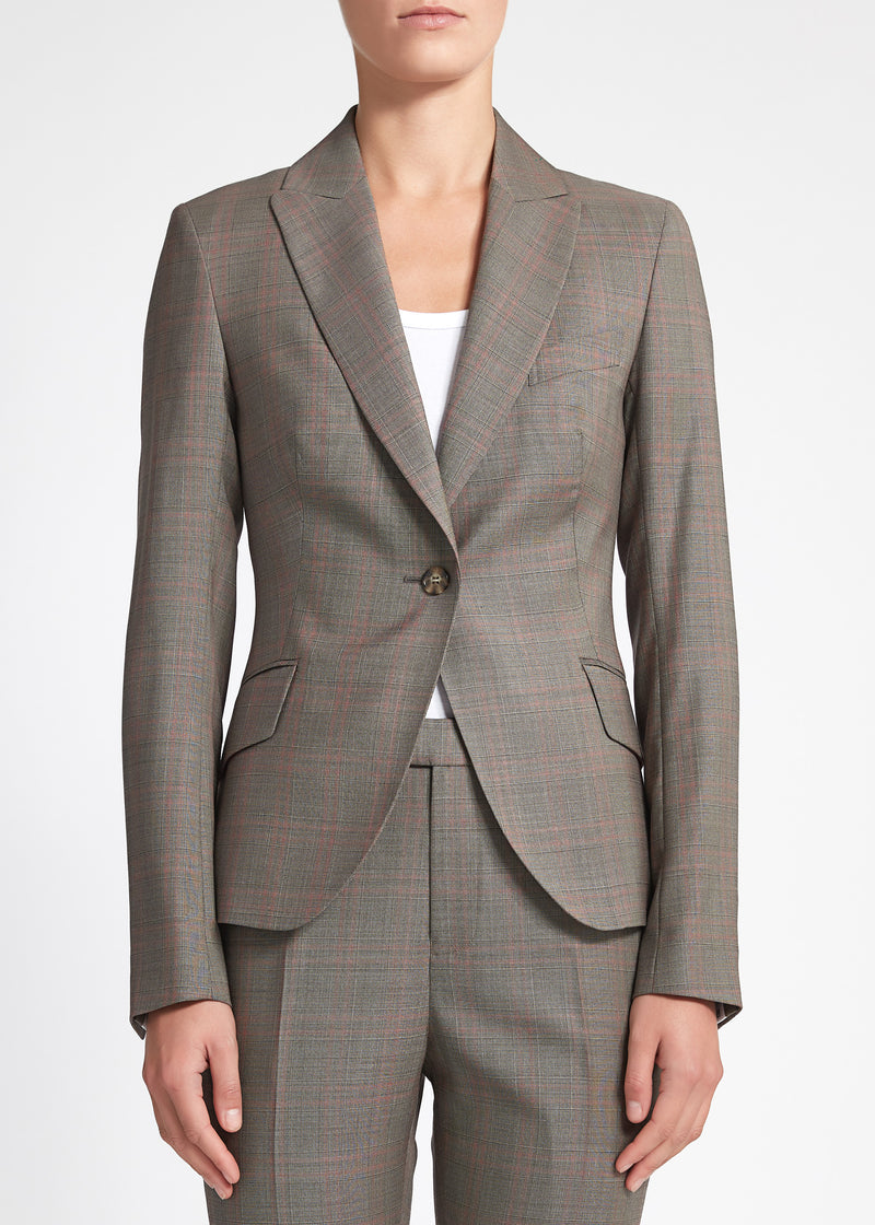 Camila Jacket - Walnut Red Check