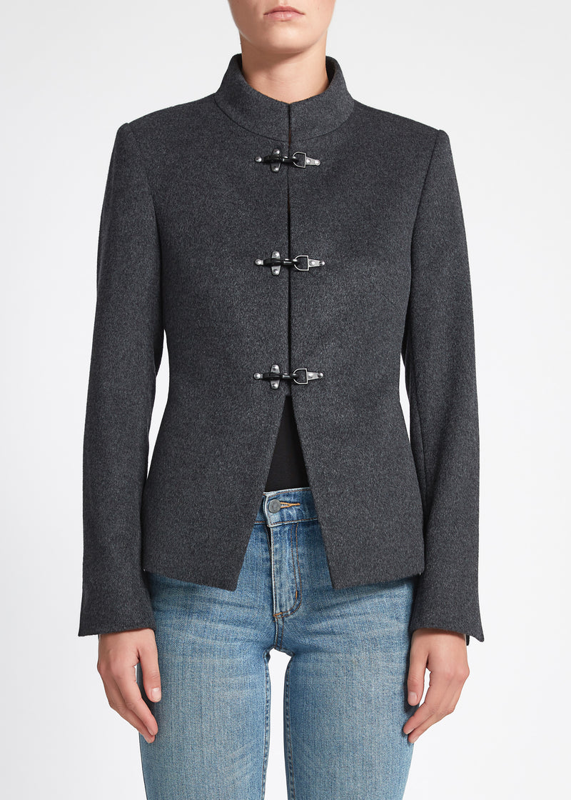 Chiara (Crop) Coat - Charcoal