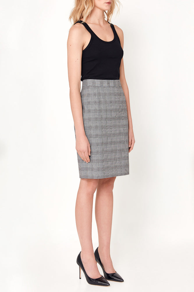 Aria Skirt - Grey White Red Check