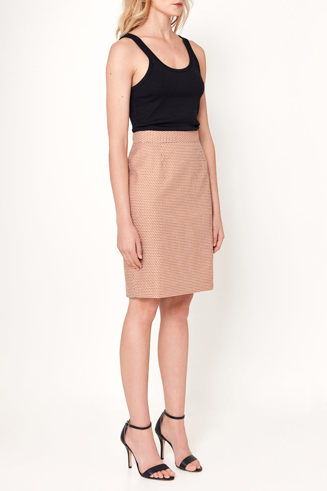 Aria Skirt - Orange White Geometric