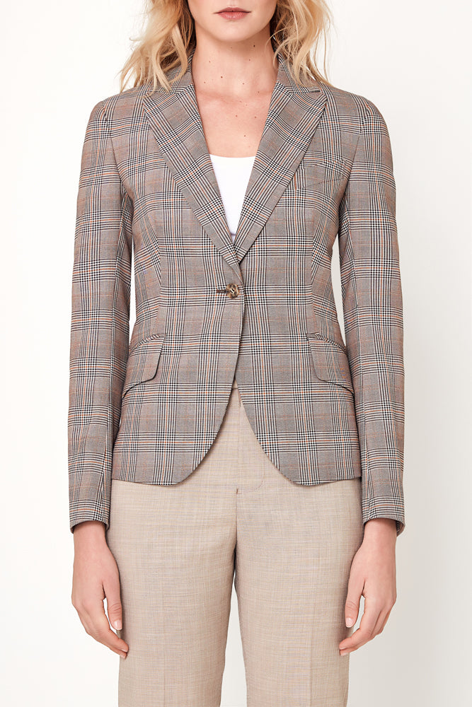 Camila Jacket - Brown Orange Check