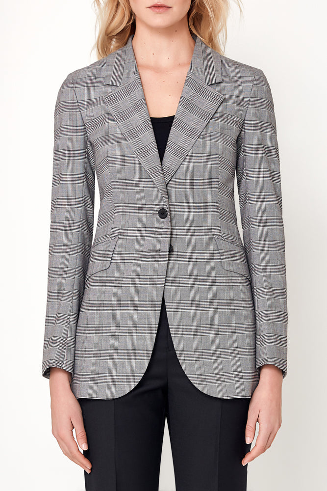 Lucia Jacket - Grey White Red Check