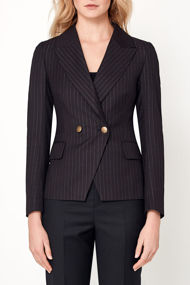 Ariana Jacket - Black With Gold Pin Stripe