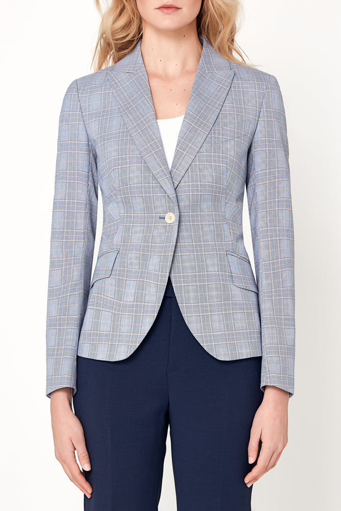 Camila Jacket - Royal Blue Gold Check