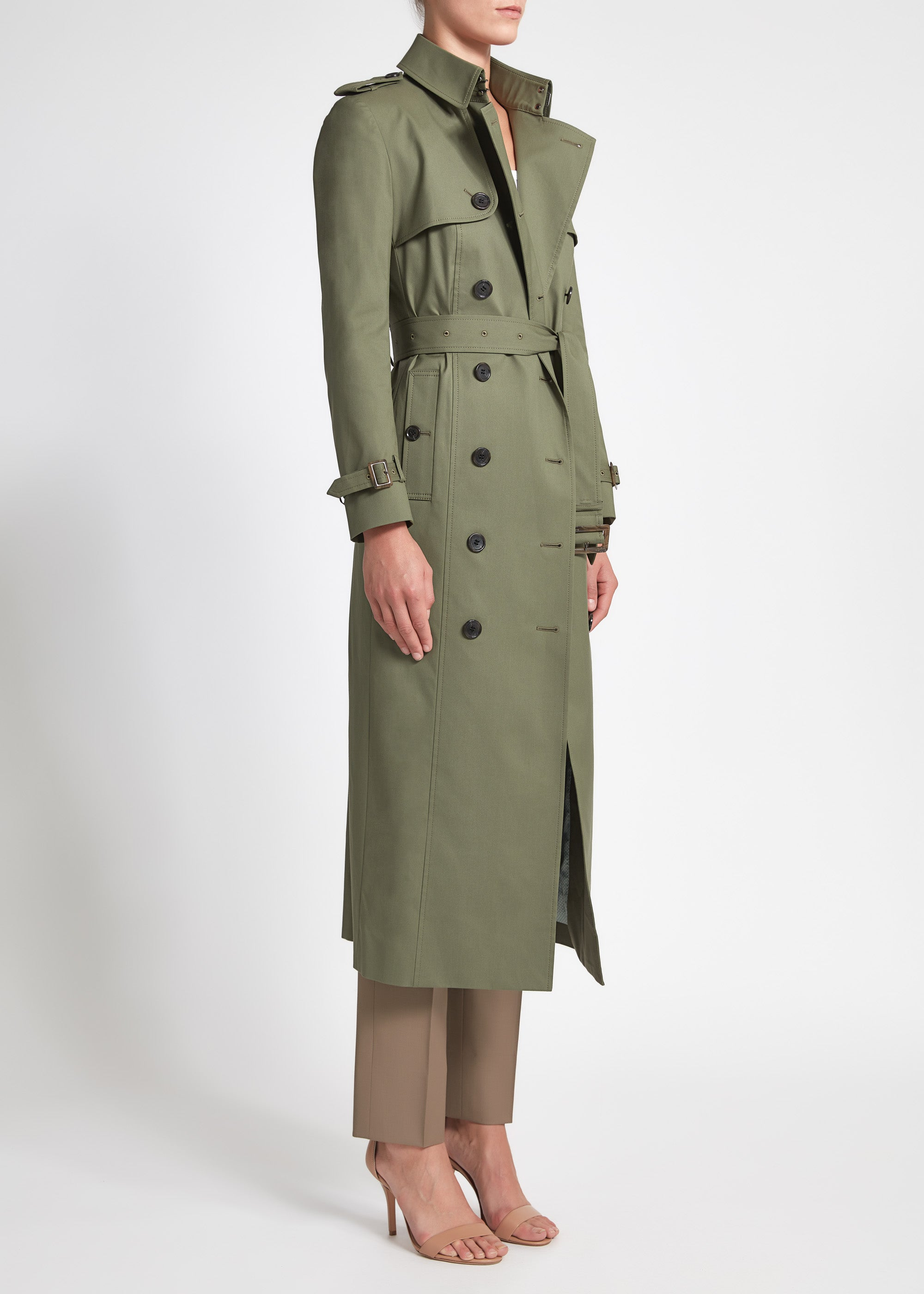 Martina (Long) Trench Coat - Olive