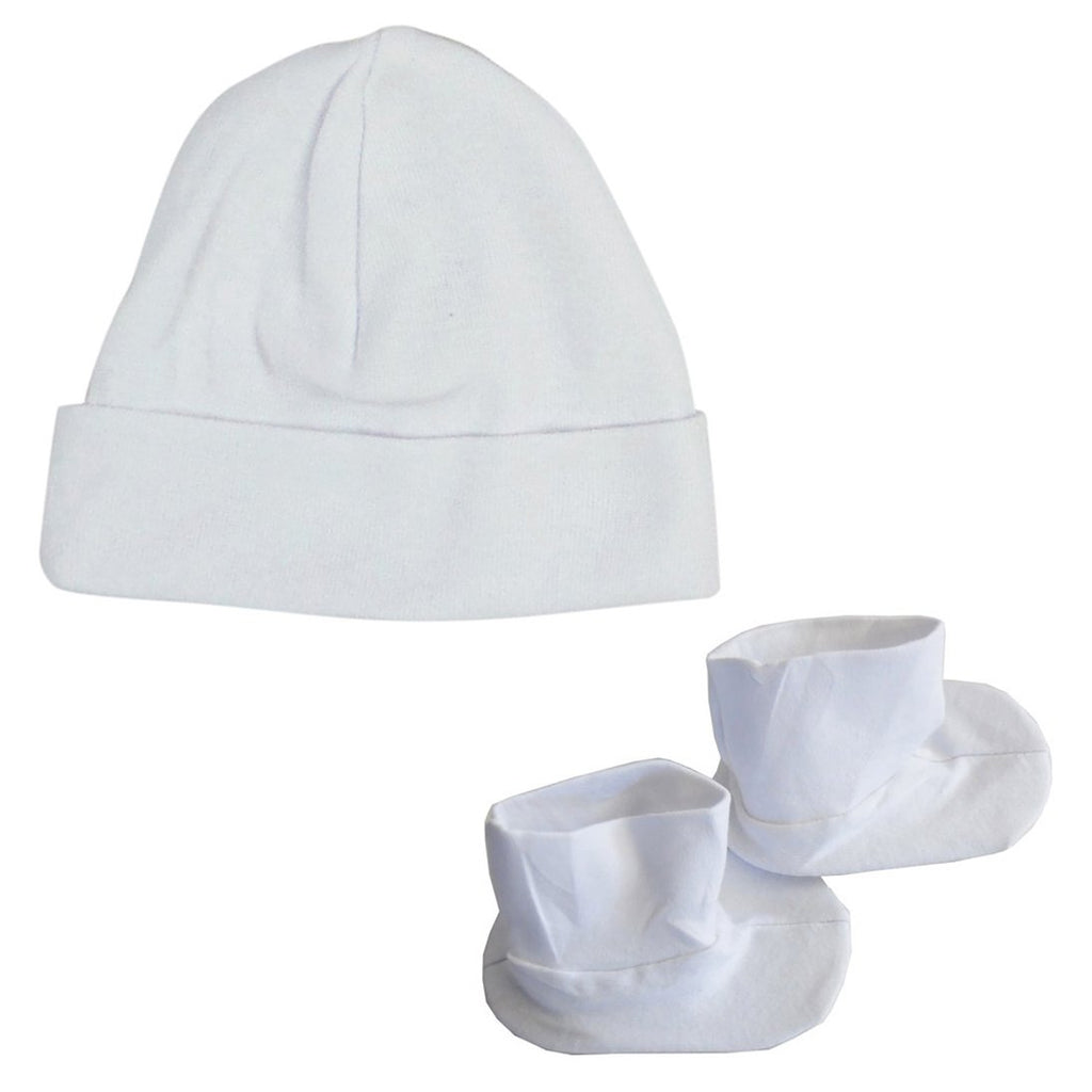 Cap & Bootie Set - White One Size