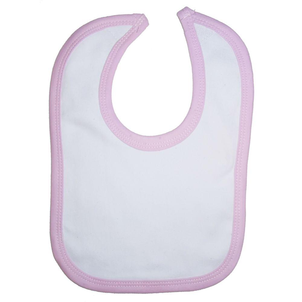 White Interlock Bib Pink Binding One Size