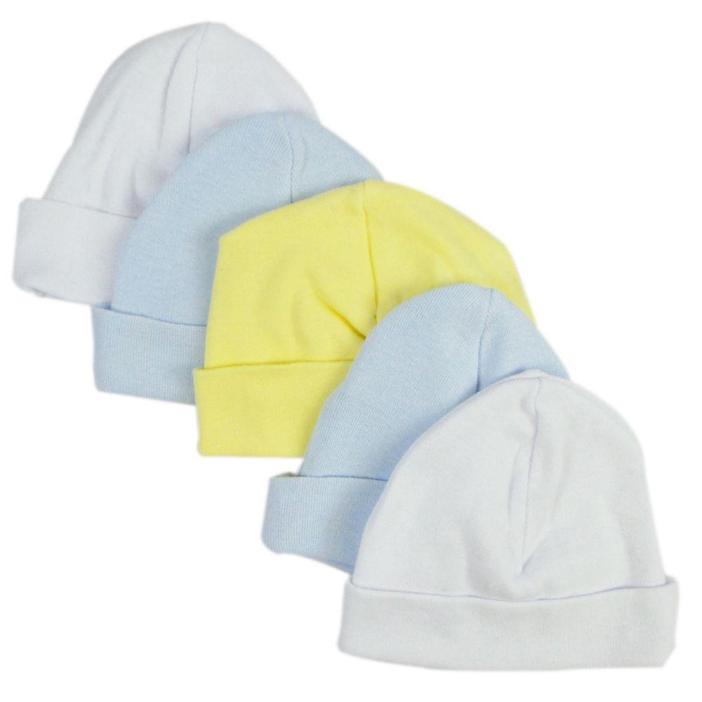 Blue & White Baby Caps (Pack of 5) One Size