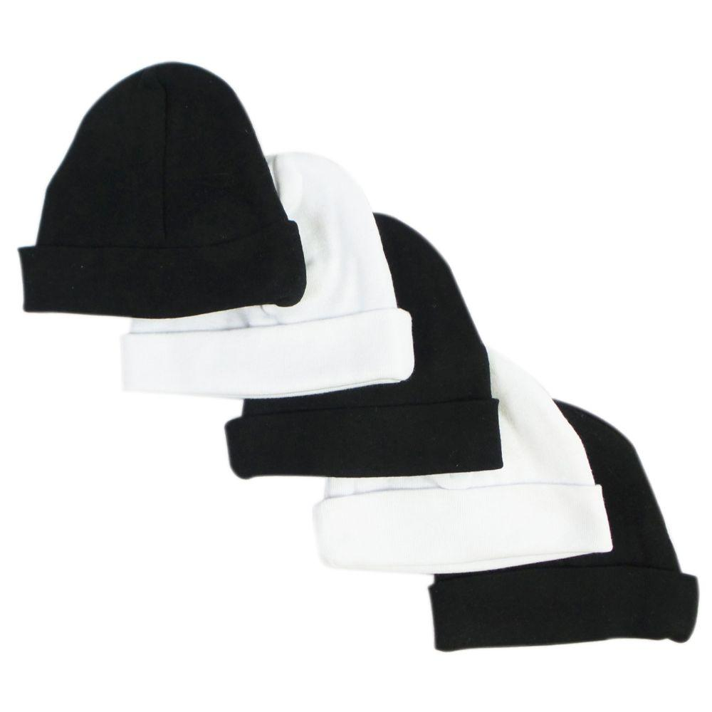 Black & White Baby Caps (Pack of 5) One Size