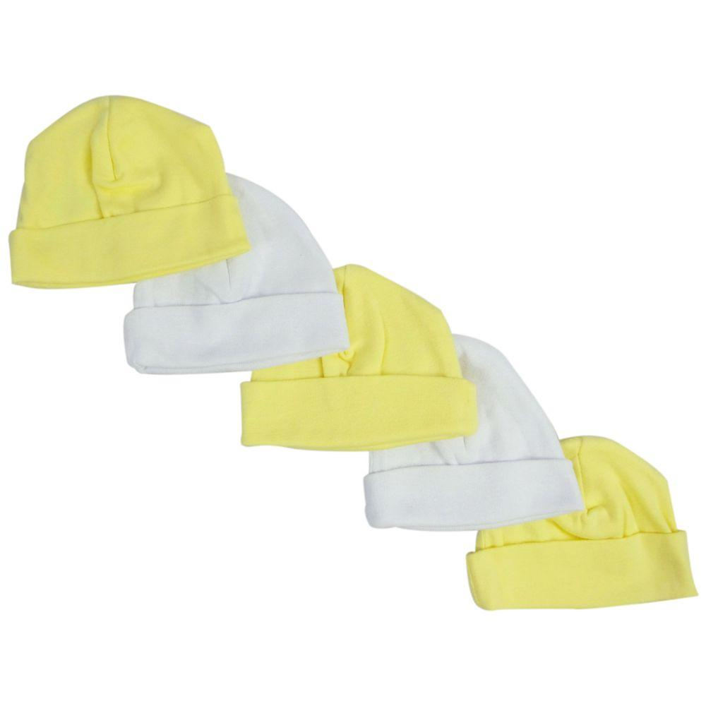 Yellow & White Baby Caps (Pack of 5) One Size
