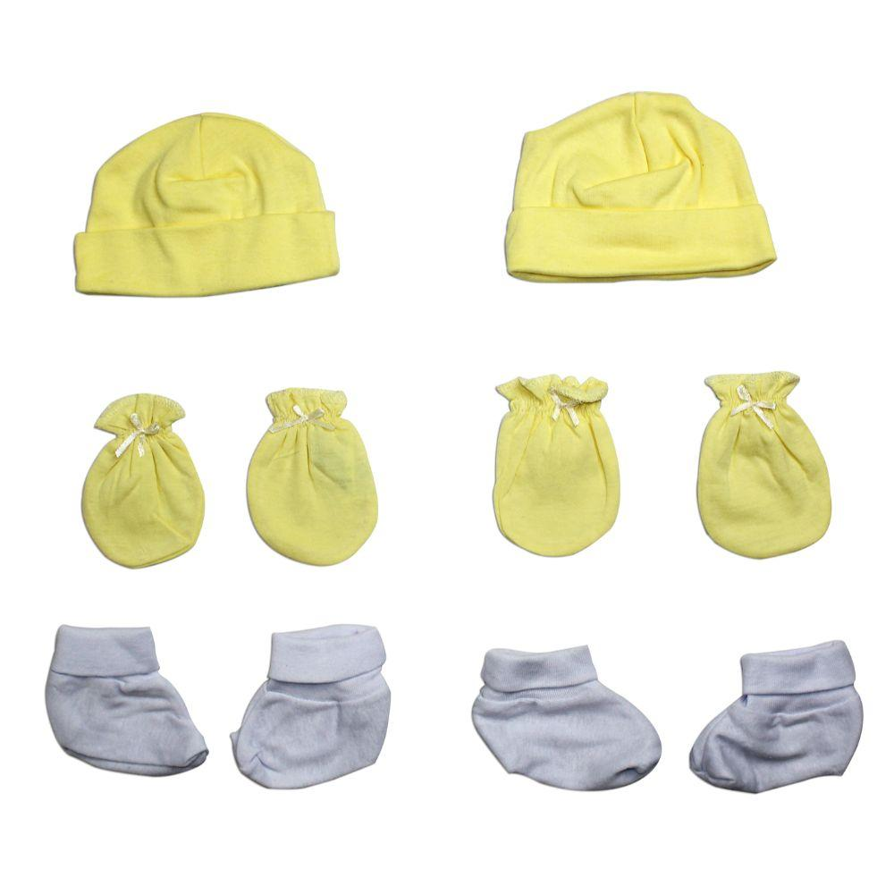 Neutral Cap, Booties and Mittens 6 Piece Layette Set Newborn