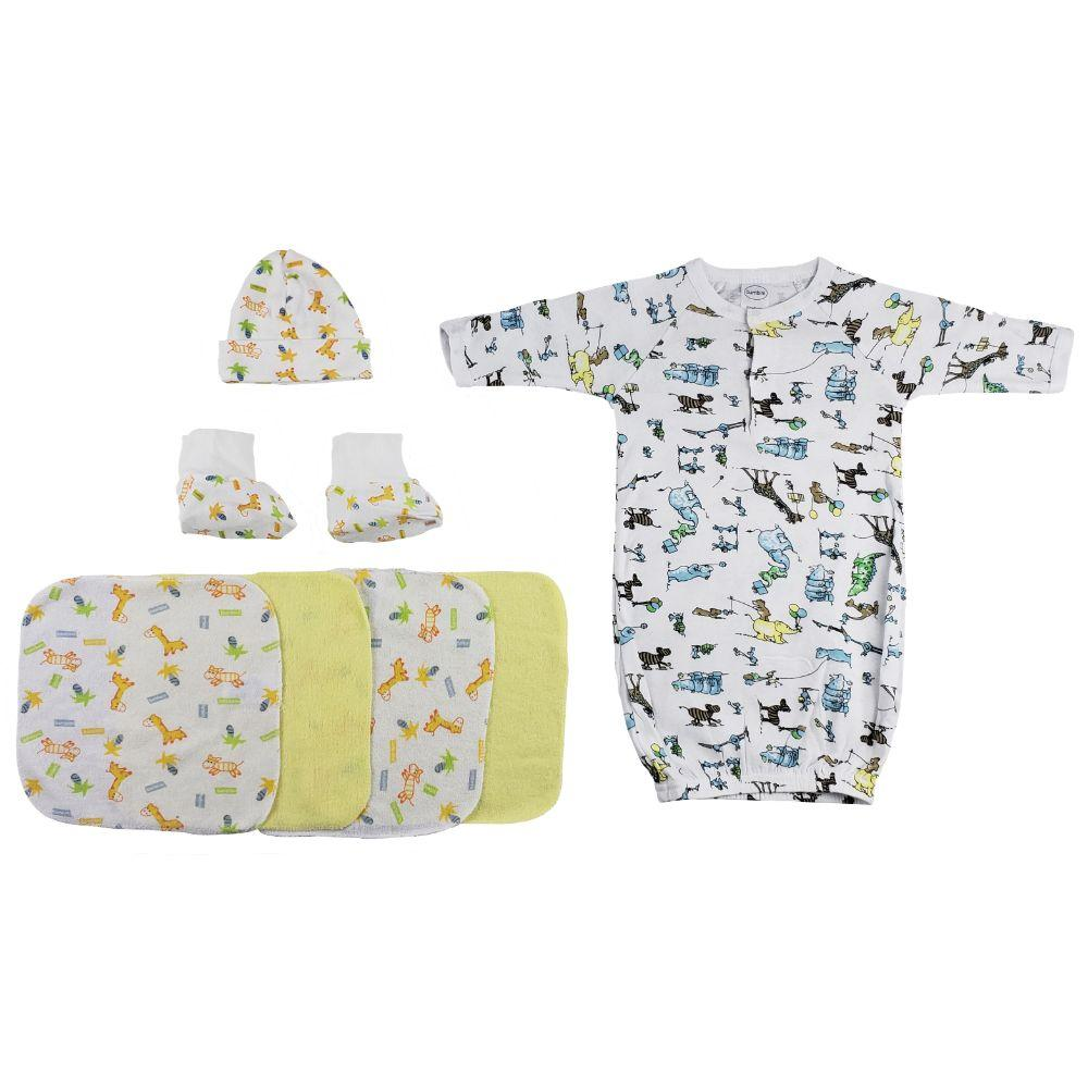 Gown, Cap Booties and Washcloths - 7 Pc Set Newborn